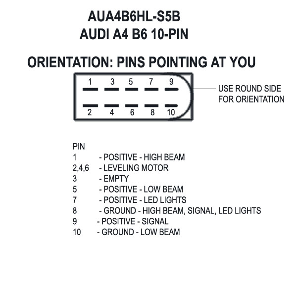 pinouts a4b6 s5b b6 and b7 headlight wiring diagram 2000 impala headlight plug wiring diagram at fashall.co