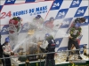 The #2 Audi team celebrates on the podium at Le Mans - Audi AG